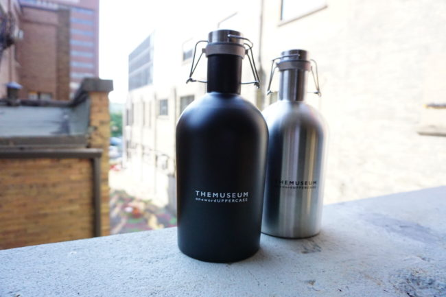 A photo of new THEMUSEUM growlers.