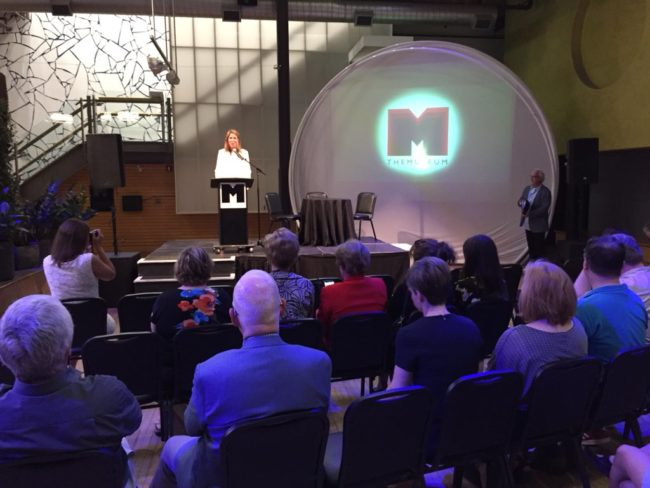 Photo of the announcement of the expansion to THEMUSEUM.