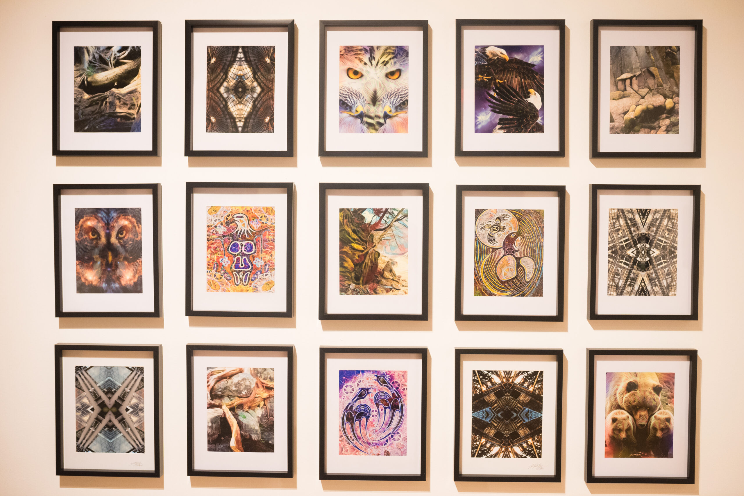 Selected works of art on a white wall in black frames.